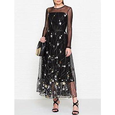 Ukulele Princess Star Print Maxi Dress - Black