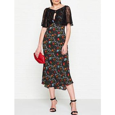 Ukulele Chloe Floral Midi Dress - Black