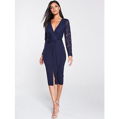 V By Very Tie Front Scuba Lace Pencil Dress - Navy