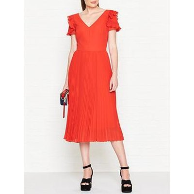 Ps Paul Smith Frill Sleeve Pleated Dress - Red