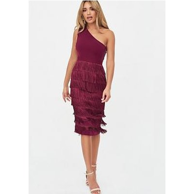 Lavish Alice One Shoulder Fringe Midi Dress - Burgundy