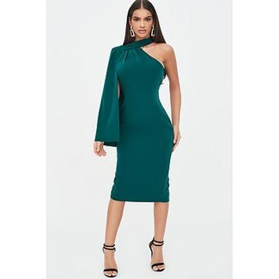 Lavish Alice One Shoulder Cape Midi Dress - Emerald Green