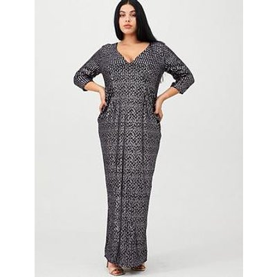 Little Mistress Curve V-Neck Sequin Maxi Dress - Purple