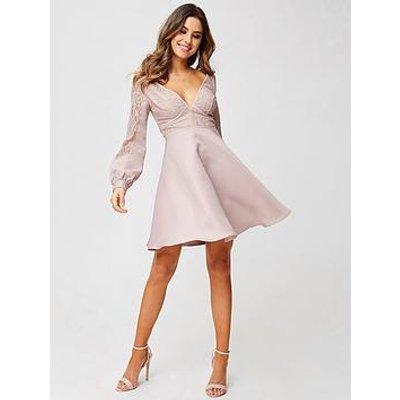 Little Mistress Petite Long Sleeve Lace Top Dress - Mink