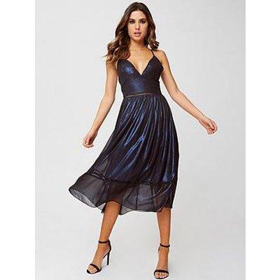 Little Mistress Petite Shimmer Midi Dress - Blue