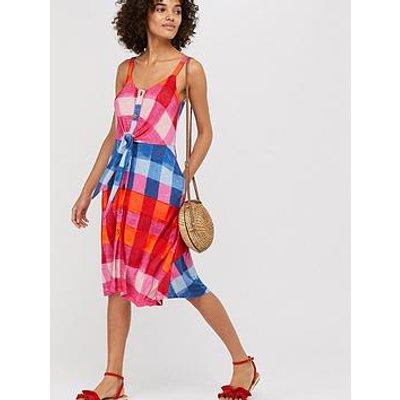 Monsoon Chessie Check Print Jersey Dress - Pink