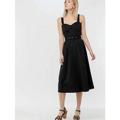 Monsoon Fae Fit &Amp; Flare Midi Dress - Black