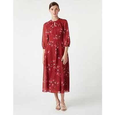 Hobbs Hobbs Samantha Orchid Tea Dress - Burgundy Cerise