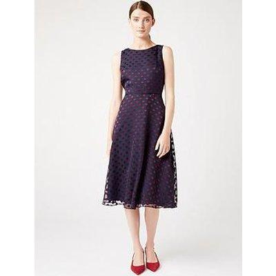 Hobbs Hobbs Spot Devore Adeline Dressdress - Navy/Burgundy