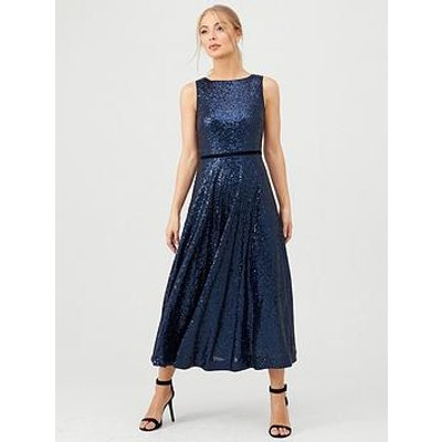 Hobbs Carly Sequin Midaxi Dress - Midnight
