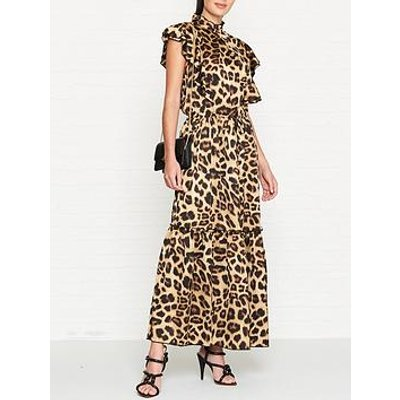 Sofie Schnoor Leopard Print High Neck Maxi Dress - Leopard