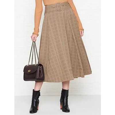 Sofie Schnoor Belted Check Midi Skirt - Brown