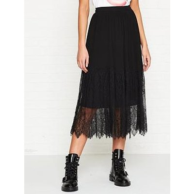 Sofie Schnoor Pleated Lace Trimmed Midi Skirt - Black