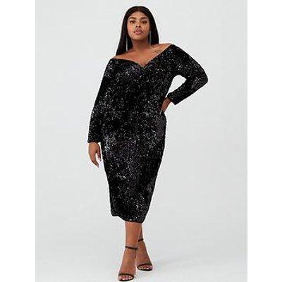 V By Very Curve Bardot Sequin Midi Dress - Black