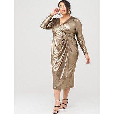 V By Very Curve Metallic Wrap Midi Dress - Gold