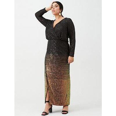 V By Very Curve Ombre Sequin Maxi Dress - Black Bronze