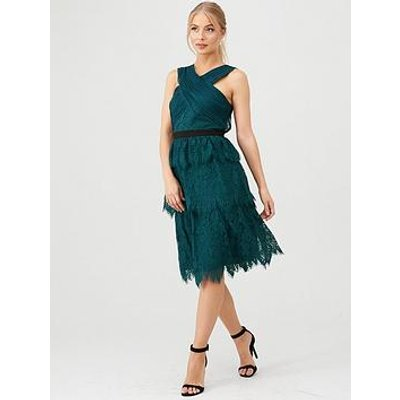 V By Very Wrap Front Layered Chantilly Lace Midi Dress - Green
