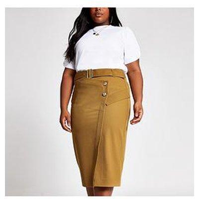 Ri Plus Pencil Utility Skirt - Camel