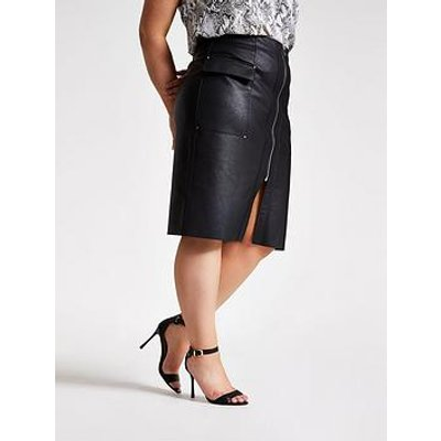 Ri Plus Ri Plus Pu Zip Utility Pencil Skirt-Black