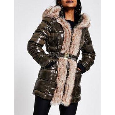 Ri Petite Ri Petite Faux Fur Front High Shine Padded Jacket - Khaki