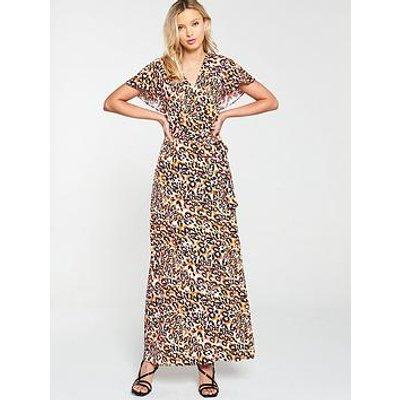 V By Very Cape Back Casual Midi Dress - Animal Print