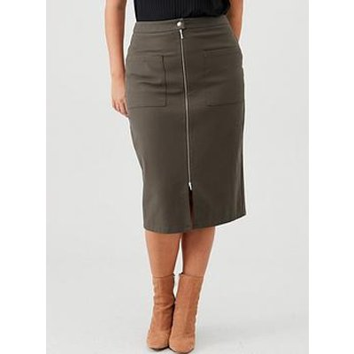 V By Very Curve Zip Through Pencil Skirt - Khaki