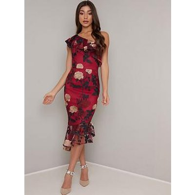 Chi Chi London Jannie One Shoulder Floral Dress - Burgundy