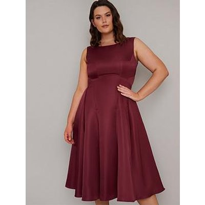 Chi Chi London Curve Guli Midi Dress - Burgundy
