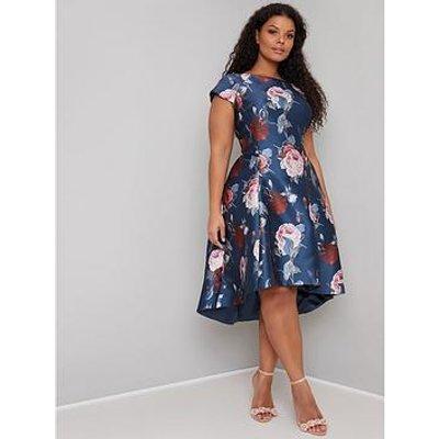 Chi Chi London Curve Claudine Dip Hem Dress - Navy