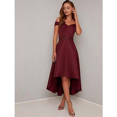 Chi Chi London Simera Bardot High Low Dress - Burgundy