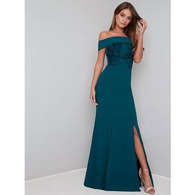Chi Chi London Fenella Bardot Maxi Dress - Teal