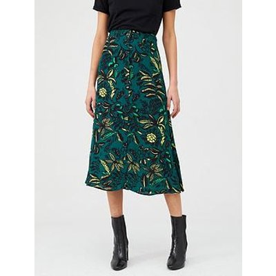 Whistles Assorted Leaves Print Skirt - Green Multi