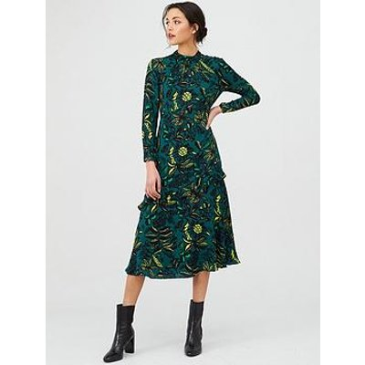 Whistles Assorted Leaves Dress - Green/Multi