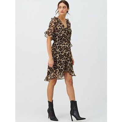 V By Very Soft Kimono Tea Dress - Leopard Print