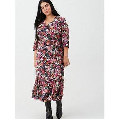 V By Very Curve Flute Sleeve Midi Dress - Neon/Floral