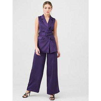 V By Very Satin Sleeveless Longline Blazer - Purple