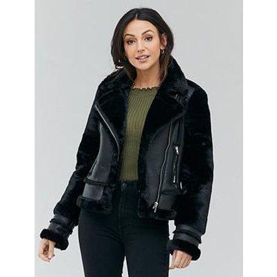 Michelle Keegan Faux Fur Shearling Biker Coat - Black