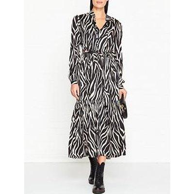 Gestuz Fei Zebra Print Midi Dress - Black