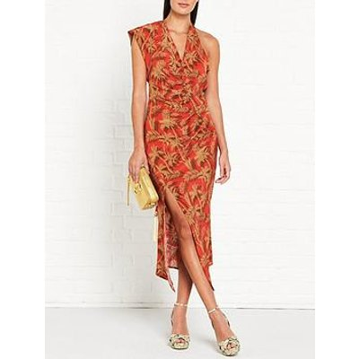Bec & Bridge Shady Palm Print Asymmetric Midi Dress - Red