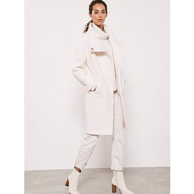 Mint Velvet Boucle Funnel Neck Coat - Cream
