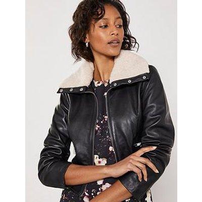 Mint Velvet Faux Fur Collar Leather Jacket - Black