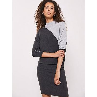 Mint Velvet Blocked Detail Batwing Dress - Grey