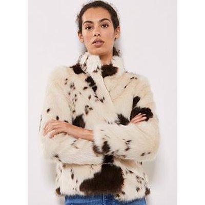 Mint Velvet Cow Print Faux Fur Jacket