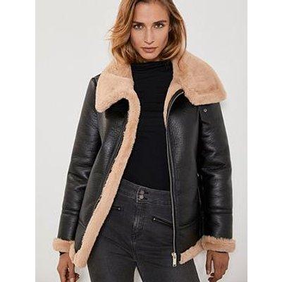 Mint Velvet Faux Fur Collar Aviator Jacket - Chocolate