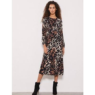 Mint Velvet Josie Leopard Print Midi Dress - Multi