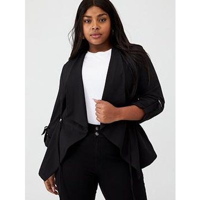 V By Very Curve Ruched Waist Waterfall Jacket - Black