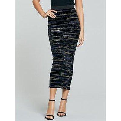 Michelle Keegan Lurex Velvet Pencil Skirt - Multi