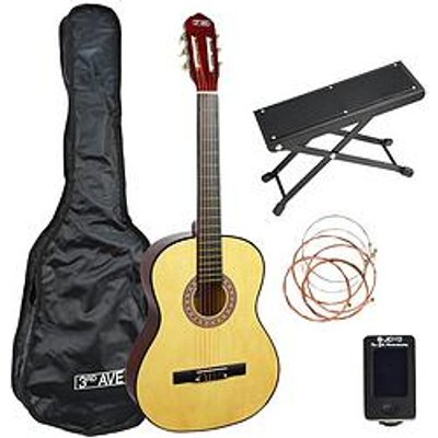 3Rd Avenue 3Rd Avenue Full Size Classical Guitar Premium Pack - Natural With 6 Months Free Online Lessons