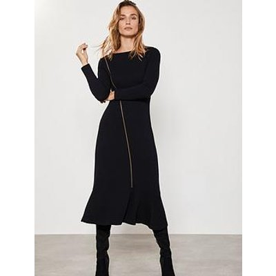 Mint Velvet Zip Through Jersey Dress - Black