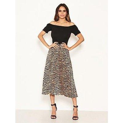 Ax Paris 2 In 1 Zebra Bardot Pleated Dress - Black/Print